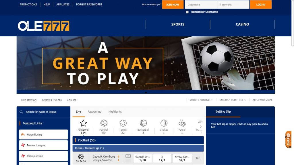 Ole777 Free Bet and Review of the online bookmaker in 2019