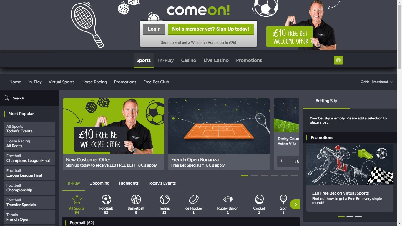 ComeOn Free Bet & Review