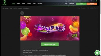 20 Free Spins on Berryburst Casino game