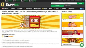 QuinnCasino Cash Back Offer