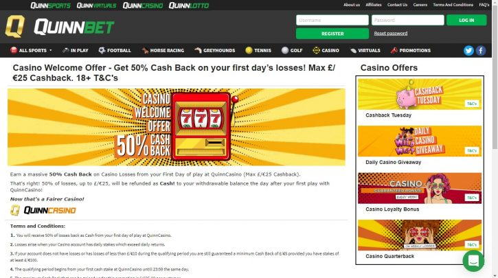 QuinnCasino Cash Back Offer
