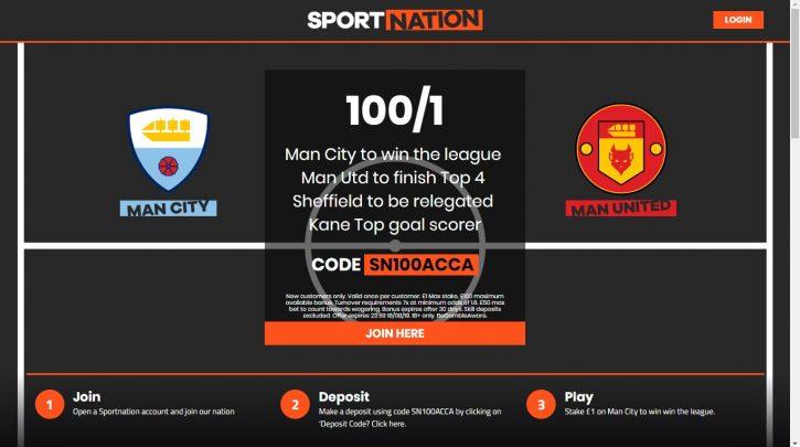 Sportnation Premier League Winner Betting Offer