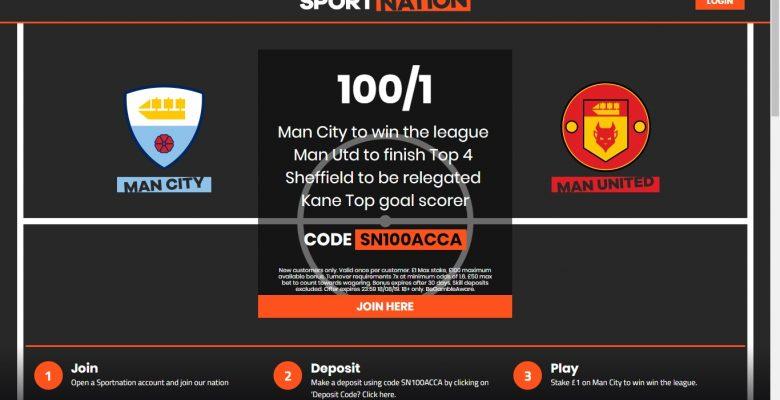 Sportnation Premier League betting Winner Offer – Man City at 100/1