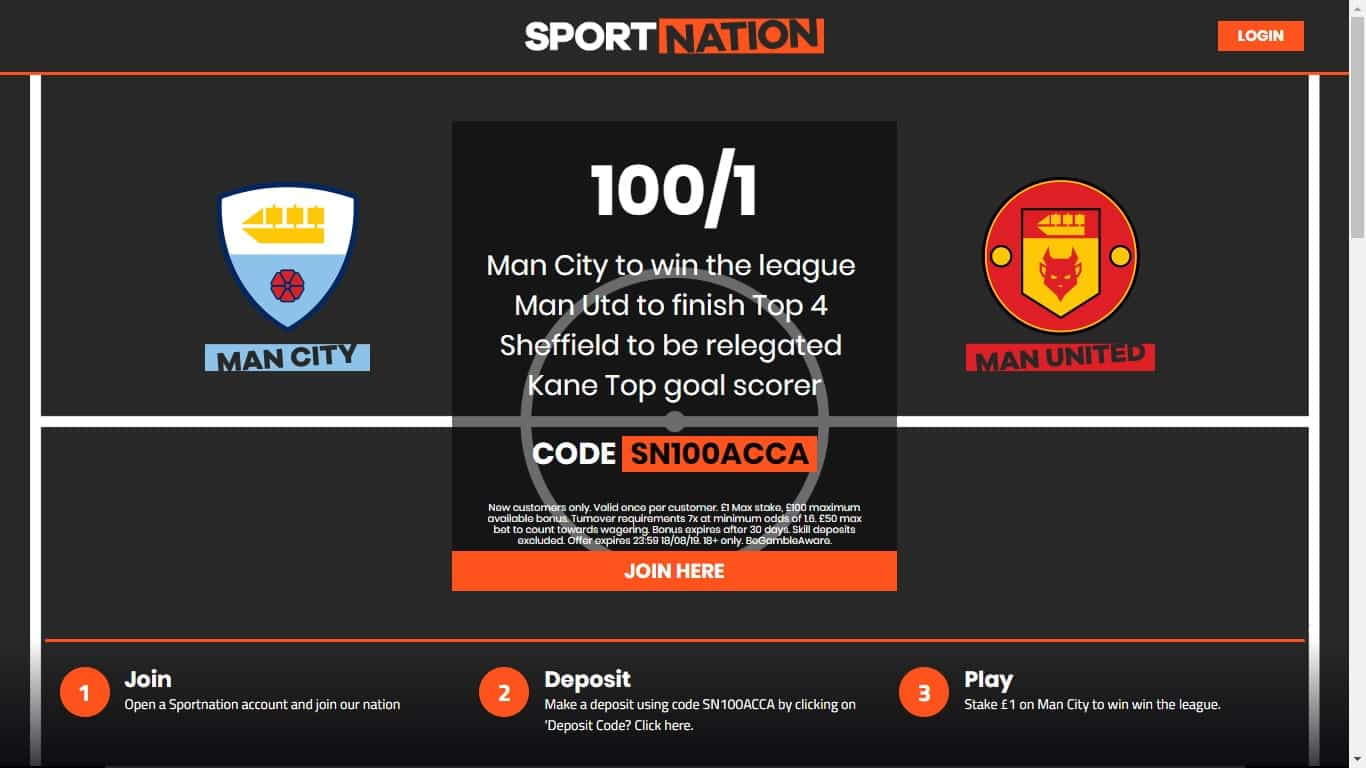 Sportnation Premier League Winner Betting Offer