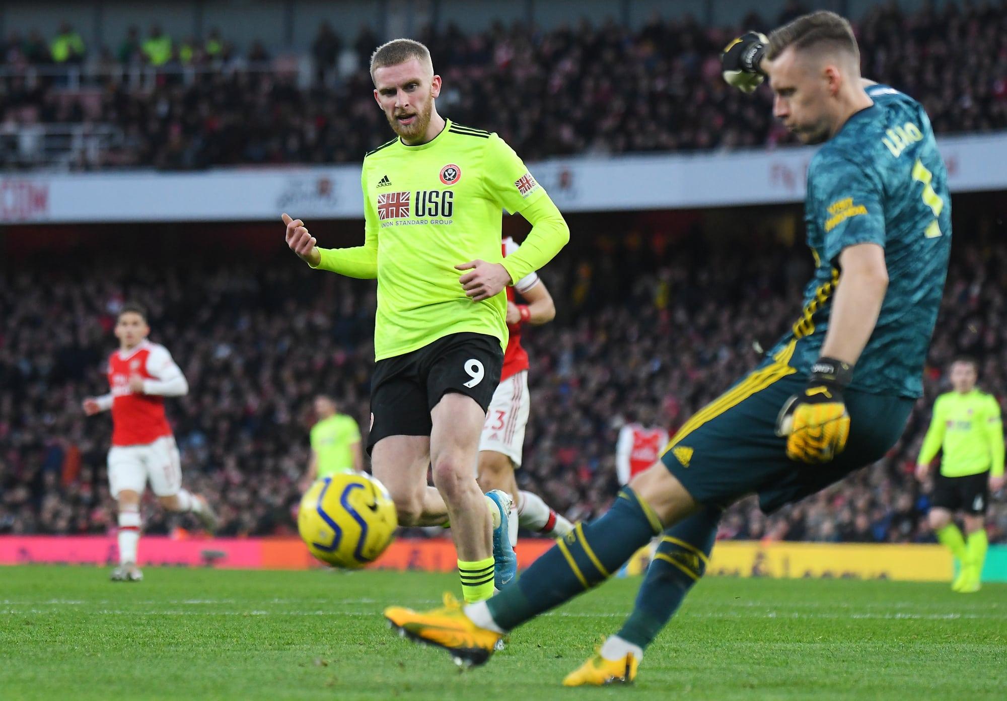 Oli McBurnie of Sheffield United faces Chelsea on Saturday