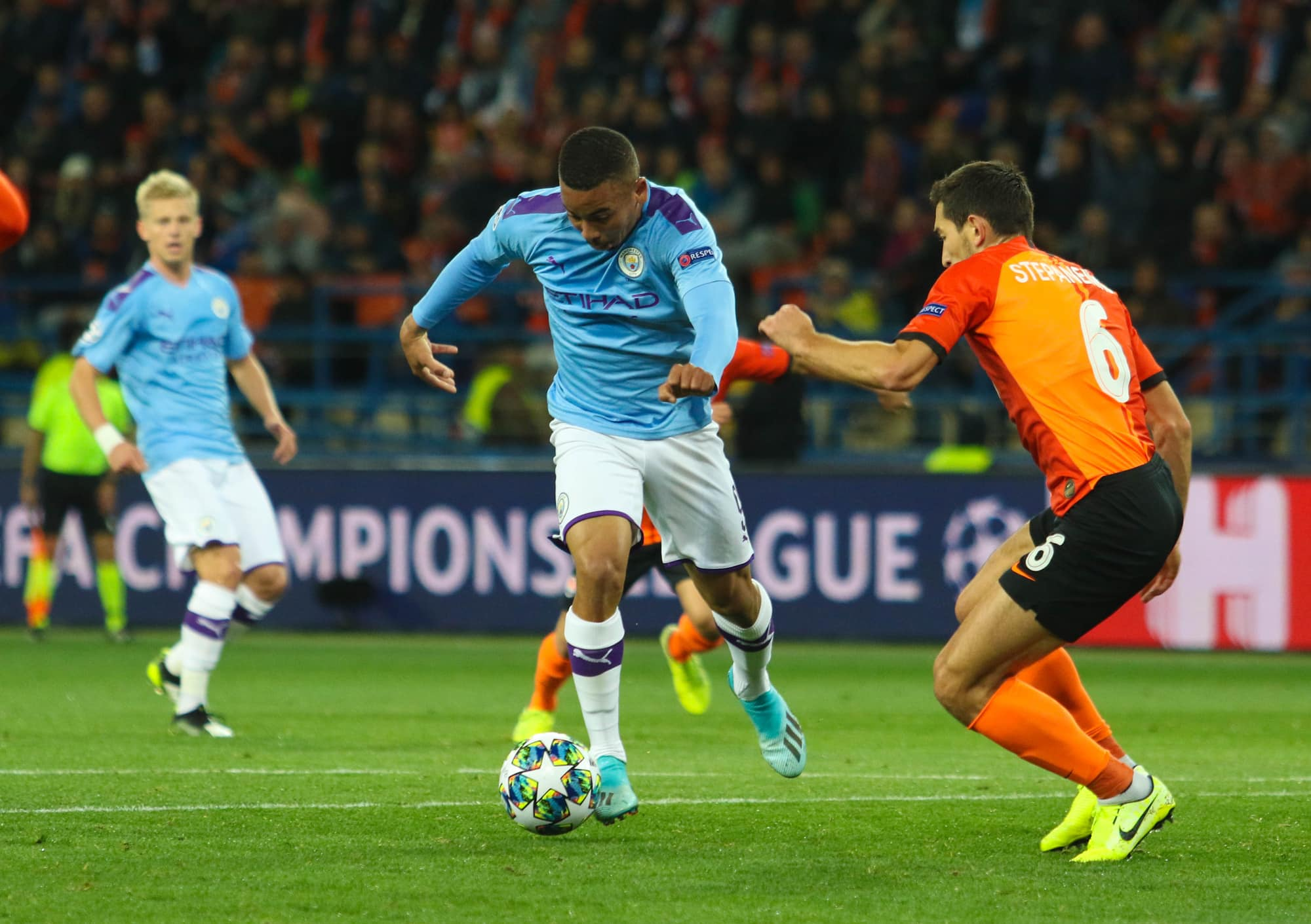 Gabriel Jesus scores in the Manchester City 3 Olympiacos 0 match