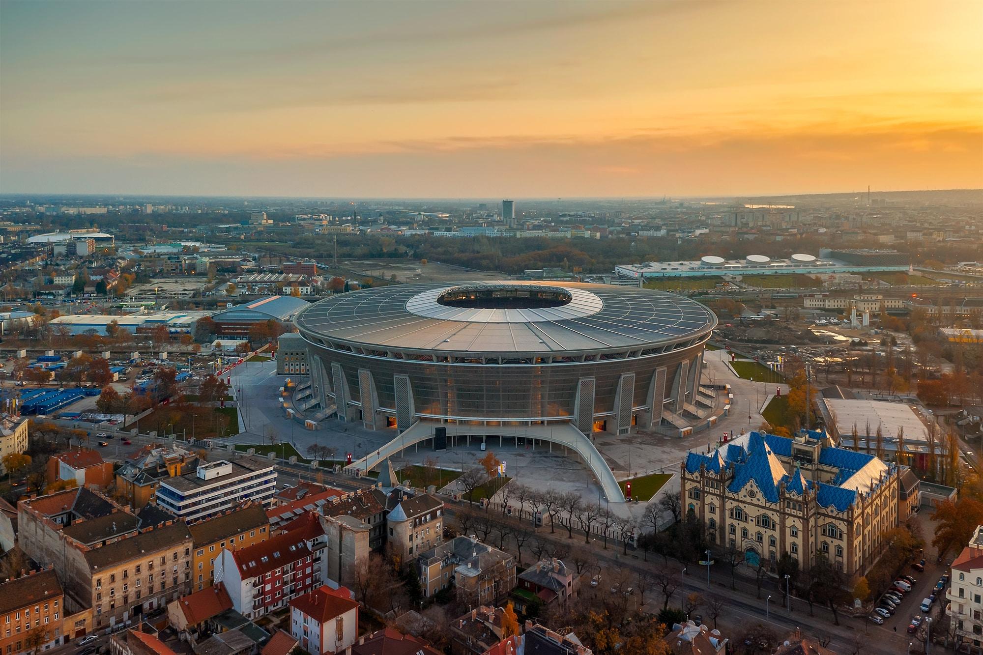 Puskas Arena hosts RB Leipzig vs. Liverpool