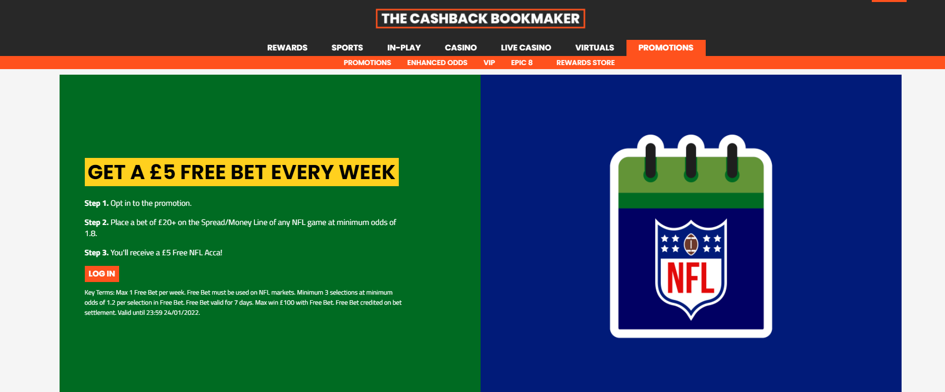£5 Free NFL bet EVERY week at SportNation